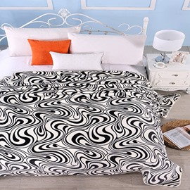 Fashion Neutral Abstract Stripes Print Polyester Blanket