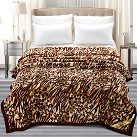 Wild Leopard Printed Thick Flannel Fleece Bed Blankets
