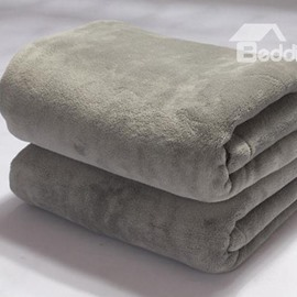 Excellent Light Grey Thick Flannel Skincare Comfortable Blanket
