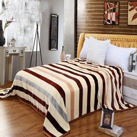 Classic and Popular Stripe Printed Flannel Blanket