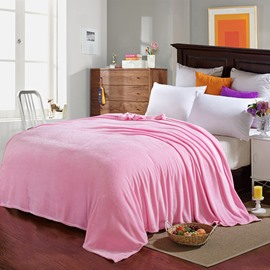 Simple Pink Anti-Pilling Soft Flannel Bed Blanket Skin-friendly Ultra-soft Microfiber No-fading
