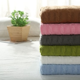 Beautiful Cable-knit Solid Color Cotton Throw Blanket