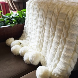Popular Design Chunky Fringe Crochet White Knitted Blanket