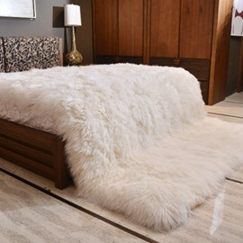 Chic Style Solid White Super Soft Shaggy Fuzzy Fur Fluffy Blanket