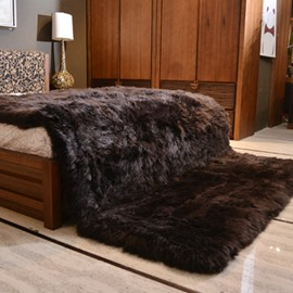 Luxury Style Dark Brown Shaggy Fuzzy Fur Fluffy Blanket