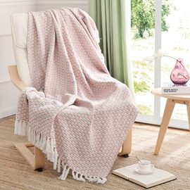 Concise and Modern Light Pink Sofa and Bed Thick Cotton Blanket