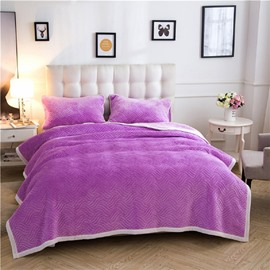 Solid Bright Purple Knot Pattern Super Warm Fluffy Thick Bed Blanket