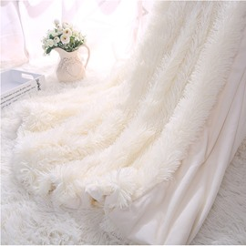 Princess Style Solid White Soft and Fluffy Double Layer Throw Blanket