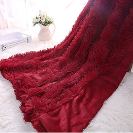 Princess Style Solid Wine Red Soft and Fluffy Double Layer Throw Blanket