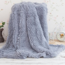 Princess Style Solid Gray Soft and Fluffy Double Layer Throw Blanket
