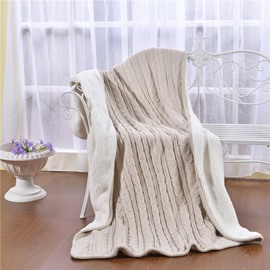 47x71in Solid Beige Super Soft and Reversible Fuzzy Knitted Throw Blankets