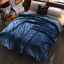 Solid Midnight Blue Flannel Reversible Plush Super Soft Fluffy Throw/Bed Blanket