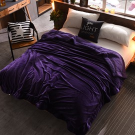 Solid Purple Flannel Reversible Plush Super Soft Fluffy Throw/Bed Blanket