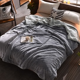 Solid Vapor Blue Flannel Reversible Plush Super Soft Fluffy Throw/Bed Blanket