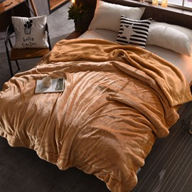Solid Camel Flannel Reversible Plush Super Soft Fluffy Throw/Bed Blanket