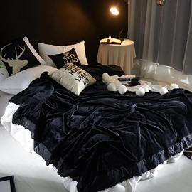Solid Black Plush with Edge Super Soft Fluffy Bed Blanket