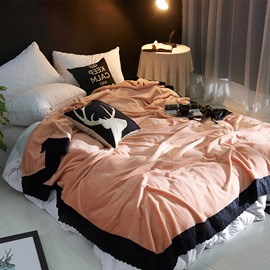 Solid Peachy Pink Plush with Black Edge Super Soft Fluffy Bed Blanket