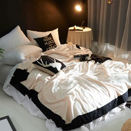 Solid Beige Plush with Black Edge Super Soft Fluffy Bed Blanket