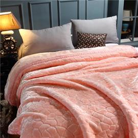 Sweet Pink Style Geometric Pattern Flannel Fleece Bed Blanket