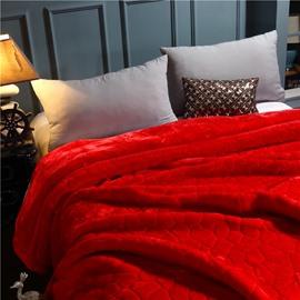 Pure Red Simple Geometric Pattern Flannel Fleece Bed Blanket
