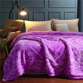 Unique Flower Printing Elegant Purple Printing Flannel Fleece Bed Blankets