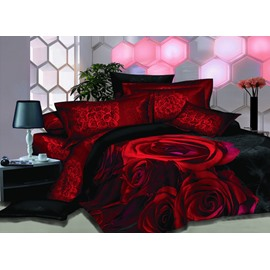 Vivid Bright Roses Printed Fitted Sheet