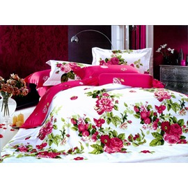 Red Peony With Green Leaves One Pair Pillowcases