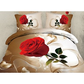 Graceful Single Rose One Pair Cotton Pillowcases