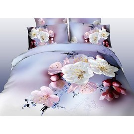 Pink and White Elegant Cherry Blossom Print One Pair Pillowcases