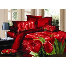 Graceful Romantic 3D Red Tulips Pattern 2-piece Pillowcases