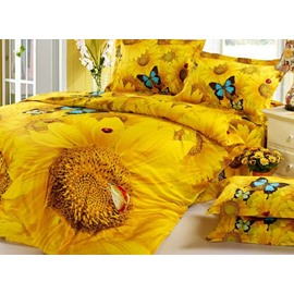 Mysterious Bright Sunflowers Butterflies Yellow Cotton Bed Skirt