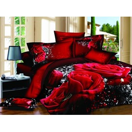 Magnificent Red Rose Print Cotton Flat Sheet