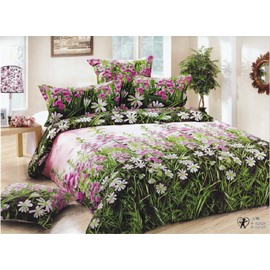 Fresh Grass Wild Flower Cotton Flat Sheet