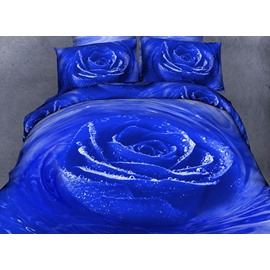 Graceful Blue Rose Comfy Cotton Flat Sheet