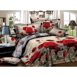 Red Roses with Leopard Background Print 2-Piece Pillow Cases