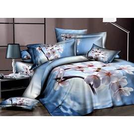 Graceful Blooming White Sakura Print Cotton 2-Piece Pillow Cases