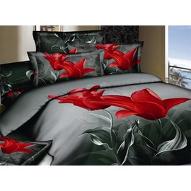 Elegant Red Tulip Print 2 Piece Cotton Pillow Cases