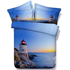 Lighthouse Sea Scenery Print Blue Two Pieces Pillow Case