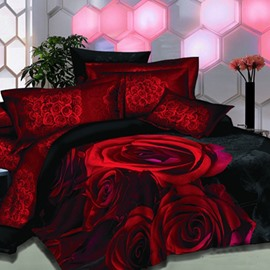 High Class Bright Red Rose Printed 3D Fitted Sheet