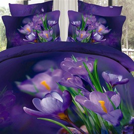 Noble Dark Purple Flowers and Green Leaves Print 3D Fitted Sheet