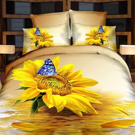 Fancy Charming Sunflower and Blue Butterfly Print 3D Fitted Sheet