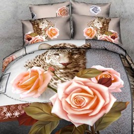 High Quality Beautiful Leopard and Roses Print Two Pieces Pillow Case