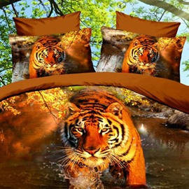 Lifelike 3D Tiger Walking in the Water Polyester Fitted Sheet