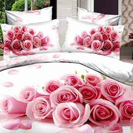 New Arrival Pink Rose Print Cotton Duvet Cover