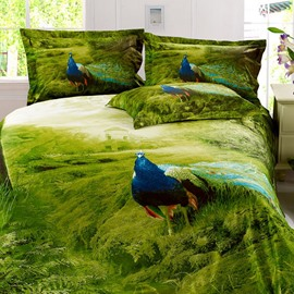 Noble Grass Visual Peacock Active Printing Cotton 2-Piece Pillow Cases