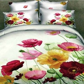 Magnificent Romantic Flower Print 3D Fitted Sheet