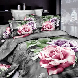 Modern Style Charming Rose Print 2-Piece Pillow Cases