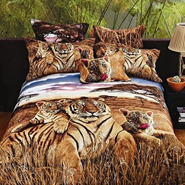 Powerful 3D Tiger Print Cotton 2-Piece Pillow Cases