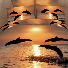 Strong and Vigorous Dolphin in the Setting Sun 3D Fitted Sheet