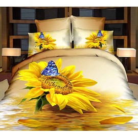 Charming Sunflower and Blue Butterfly Print 2-Piece Pillow Cases